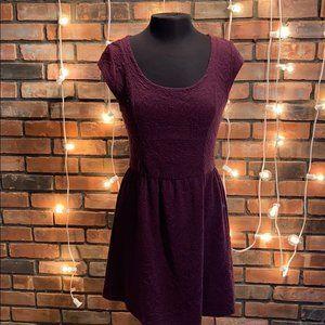Eyelash Purple Short Sleeved Dress Stretchy Casual